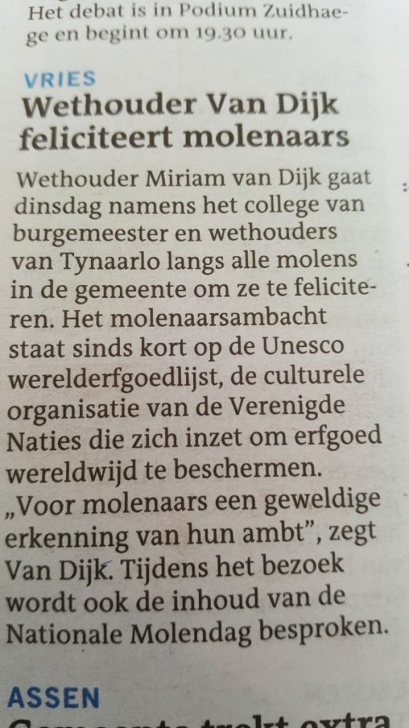 Wethouder Miriam van Dijk van Tynaarlo bezoekt molenaars