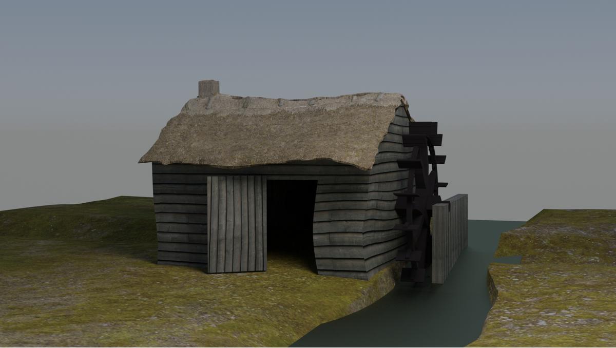 3D model watermolen 14 eeuw